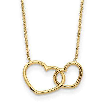 Double Heart Necklace - 14K Yellow Gold - Henry D