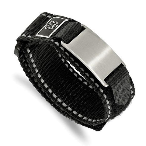 Engravable Medical Black Nylon Velcro Bracelet - Stainless Steel