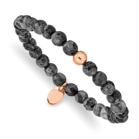 Spectrolite Bead Stretch Bracelet - Stainless Steel