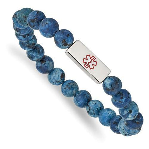 Gemstone Bead Engravable Medical Stretch Bracelets - Stainless Steel
