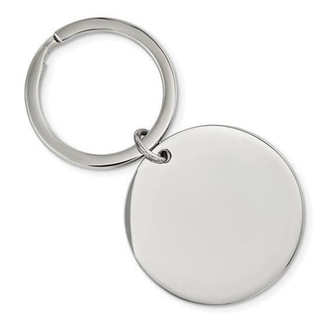 Large Circle Engravable Keychain - Stainless Steel - Henry D