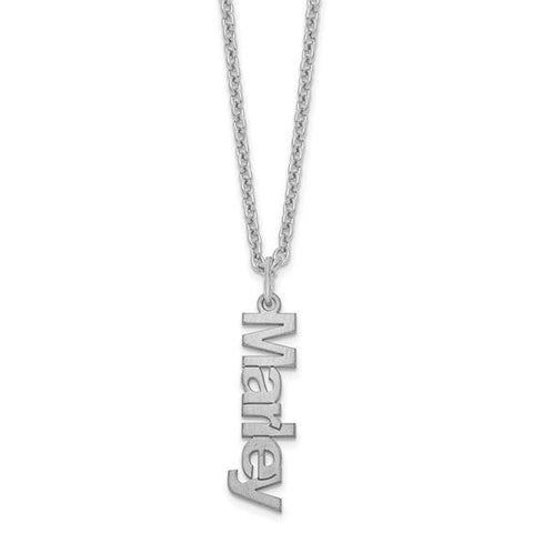 Brushed Name Charm Necklace