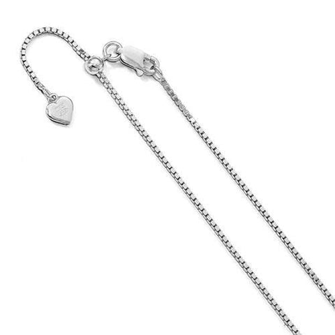 "Box Chain Adjustable Anklet 11"" - Sterling Silver"