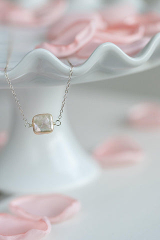 Square Freshwater Pearl Necklace - Sterling Silver - Henry D
