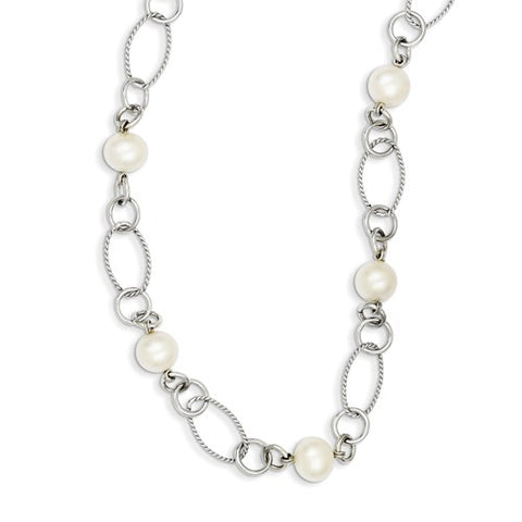 Freshwater Pearl Chain Necklace - Sterling Silver