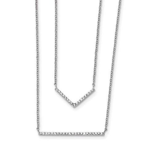 "Double Strand CZ Necklace 16"" - Sterling Silver"