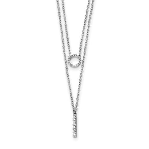 Double Strand CZ Necklace - Sterling Silver