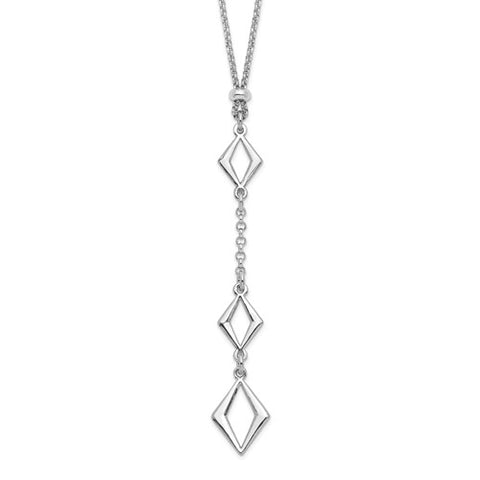 Geometric Adjustable Necklace - Sterling Silver