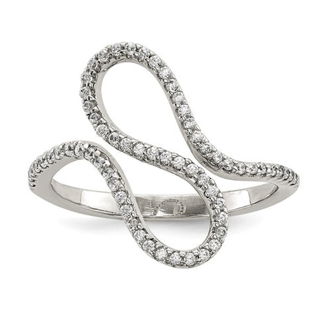 Wave Design CZ Ring - Sterling Silver