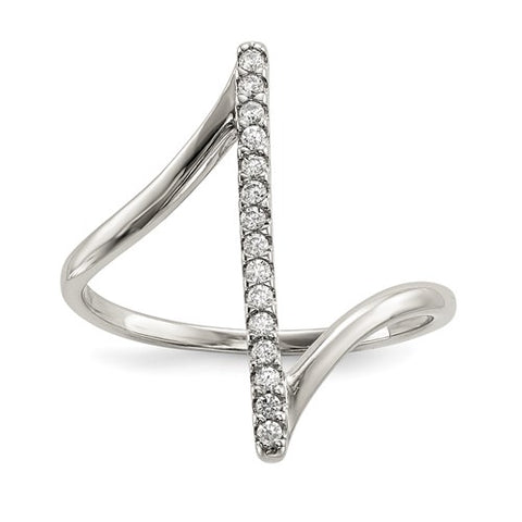 CZ Bar Ring - Sterling Silver