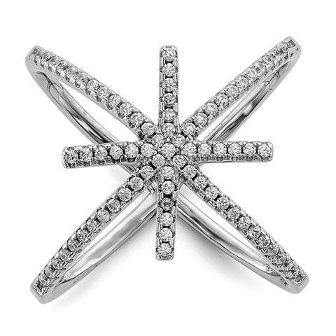 Criss Cross Star CZ Ring - Sterling Silver