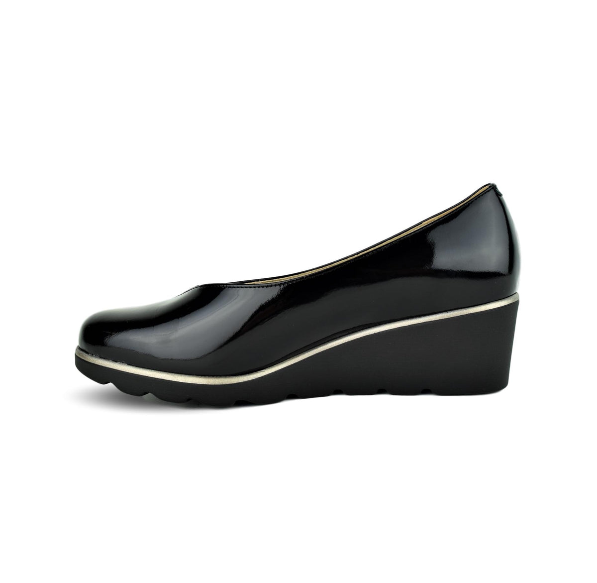 MARINA - Dchicas Closed Wedge Black Patent