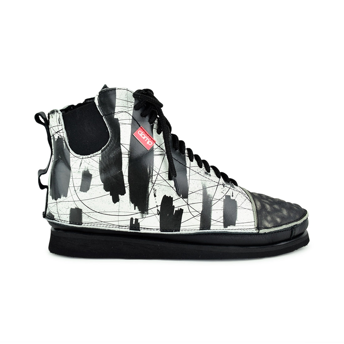 BONNAIR3 - Clamp Lace Up Ankle Boot Black/White Print
