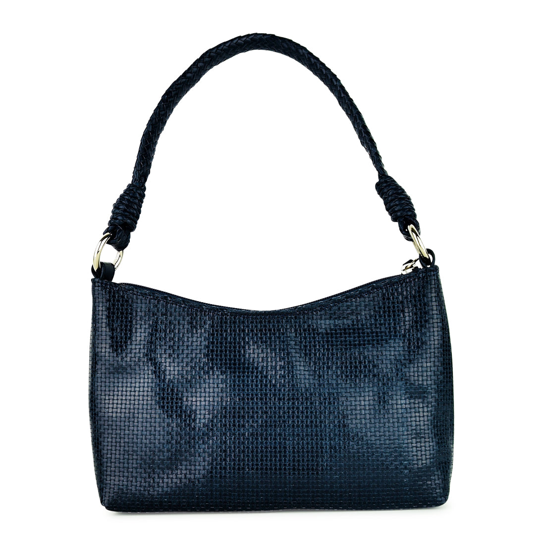 LG108J - Sasha Weave Leather Shoulder Bag Navy