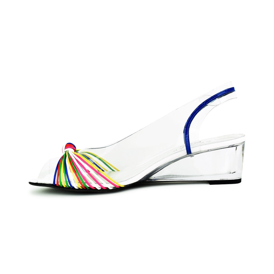 NATURI - Azuree Sling Back Wedge White Multi
