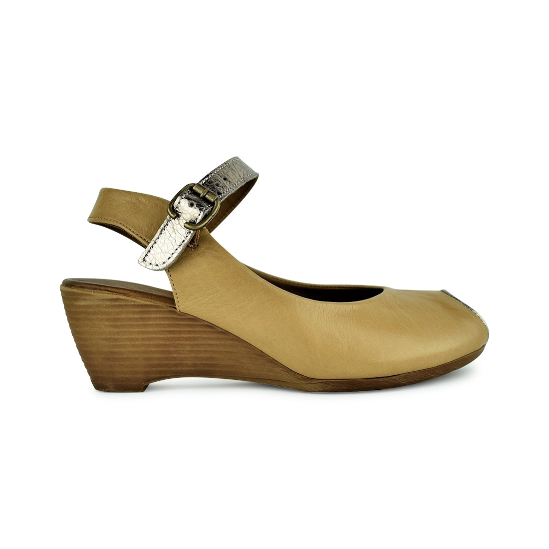 POETA - Warwick Dawson Wedge Sandal Light Tan/Pewter