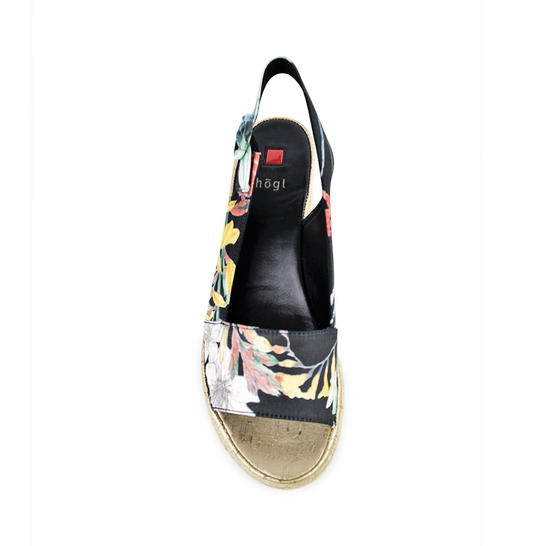 SILK - Hogl Wedge Sandal Black Floral