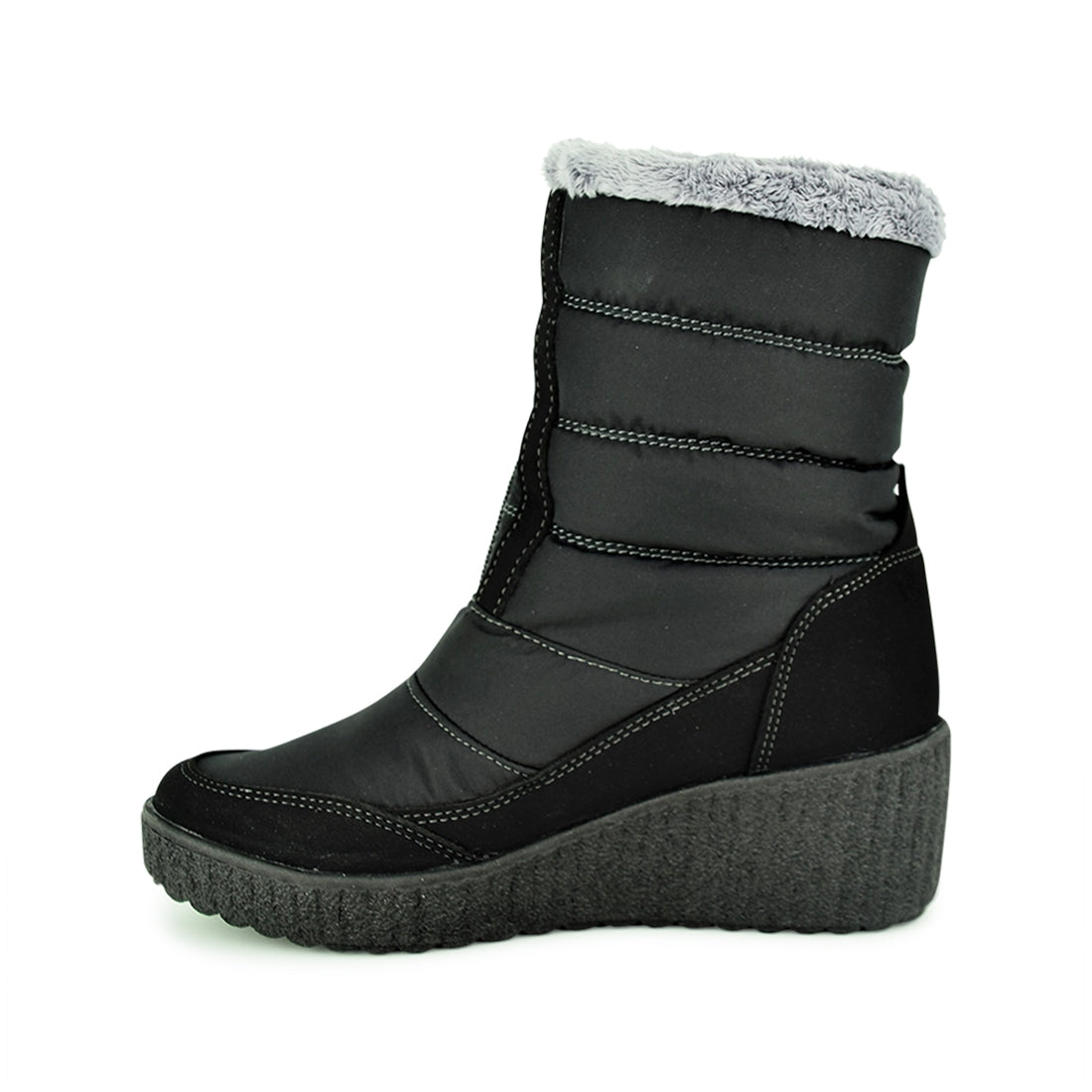 TYRA - Norski Wedge Weather Proof Mid Boots Black