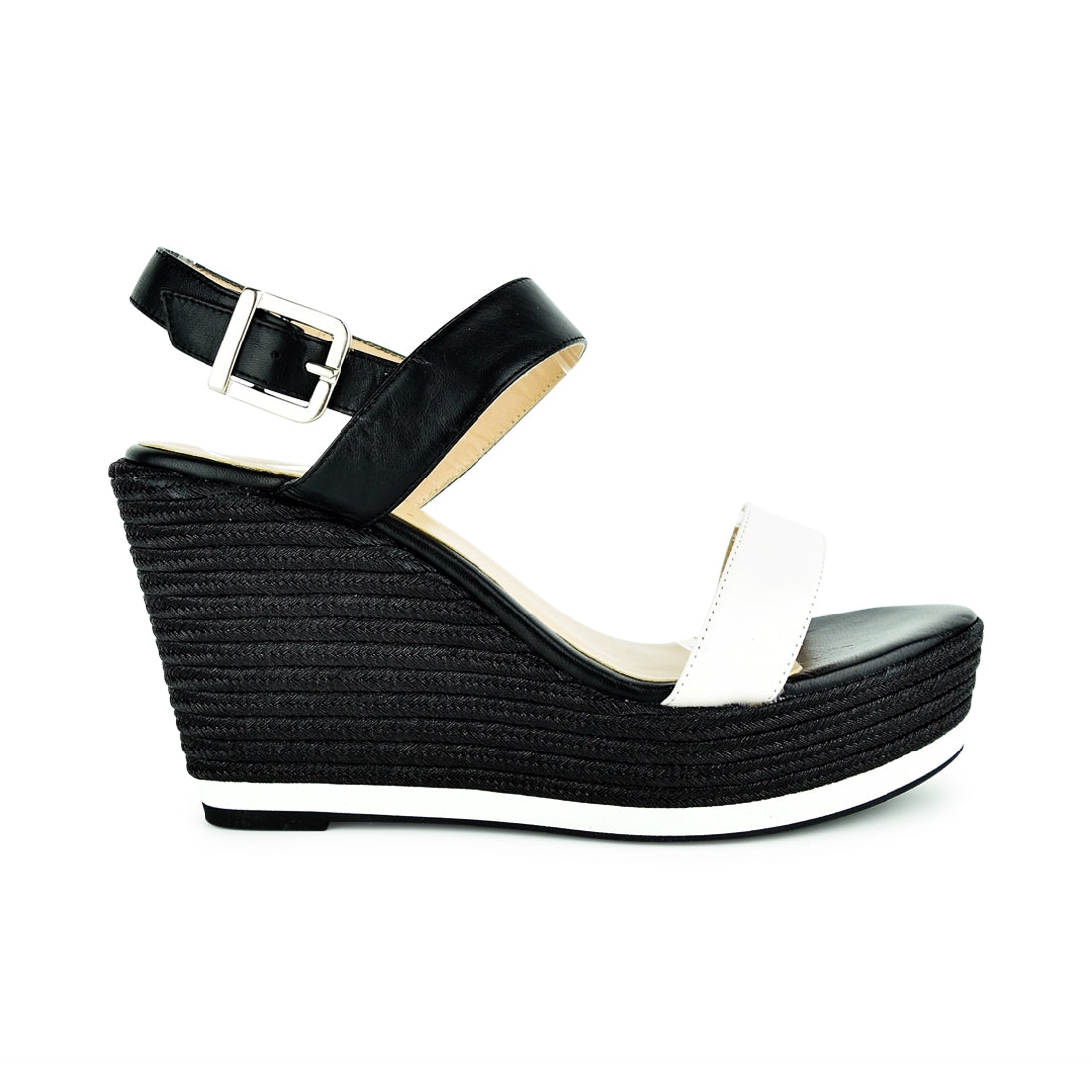 VIVO - Marian Wedge Sandal Black/White