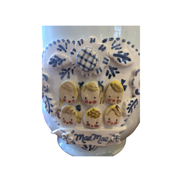 Cache Pot with Children's Faces - Heart in Blue & White