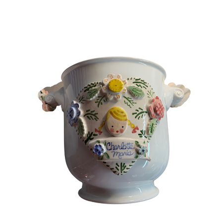 Handmade Cache Pot Cache Pot with Lamb and Floral Wreath White Flower Pot Wreath New Baby Gift Easter gift