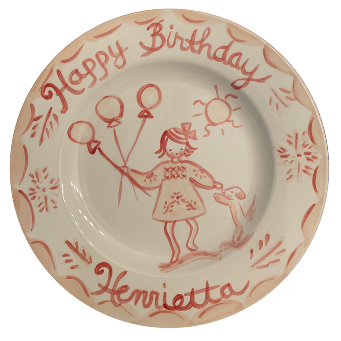 Birthday Plate - Pink/Red