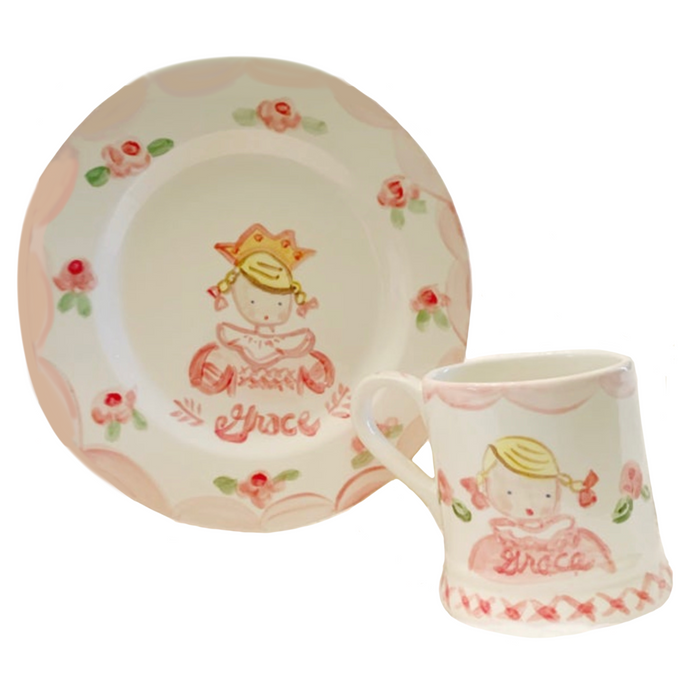 Child's Cup and Plate Set - Girl with Crown