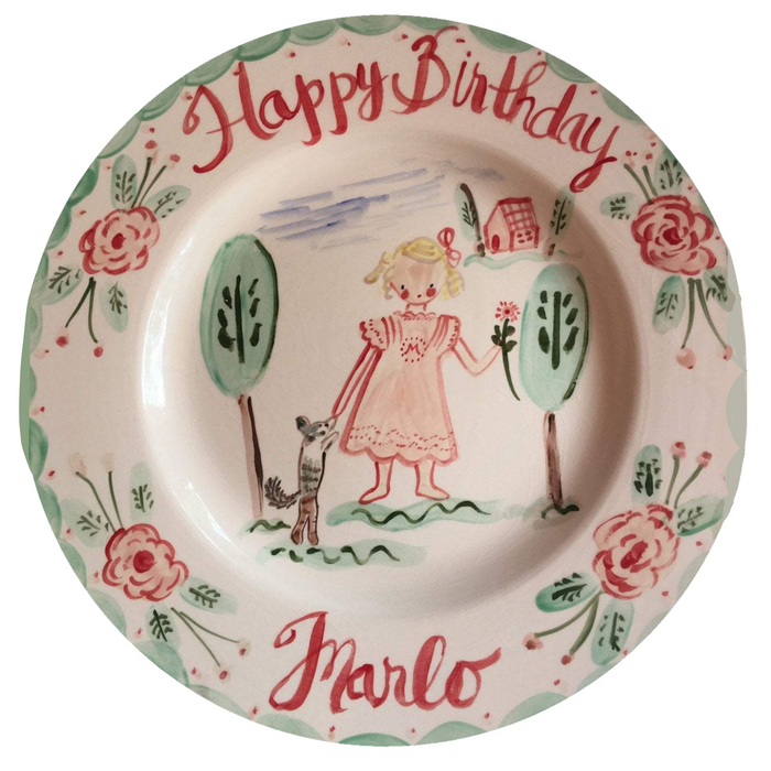 Birthday Plate- Roses/Trees