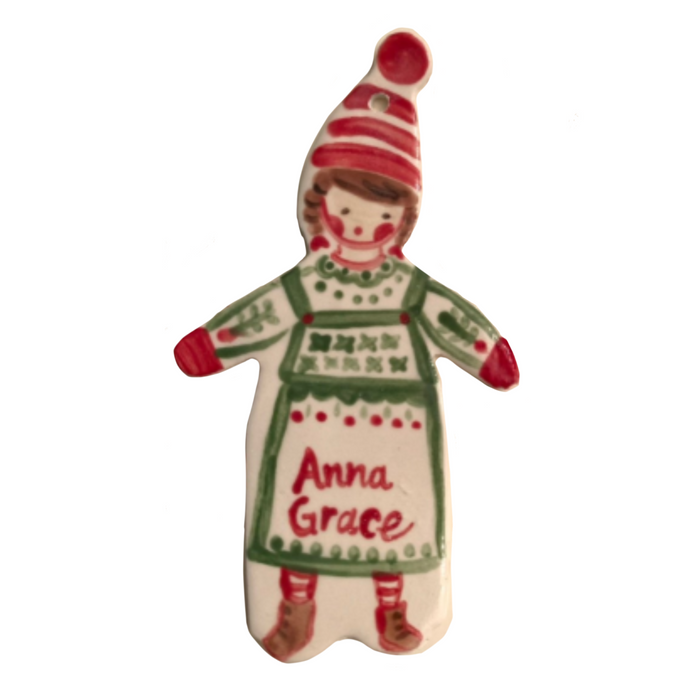 Green Pinafore Girl Ornament