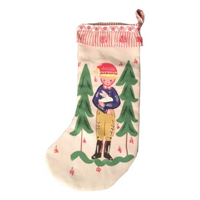 Stocking - Boy with Bunny and Trees