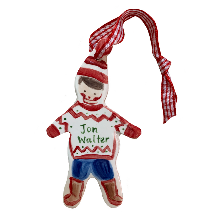Christmas Boy ornament - red/green
