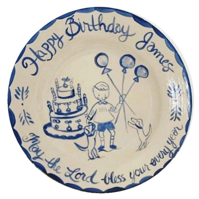 Birthday Plate - Balloons, Cake, Dogs