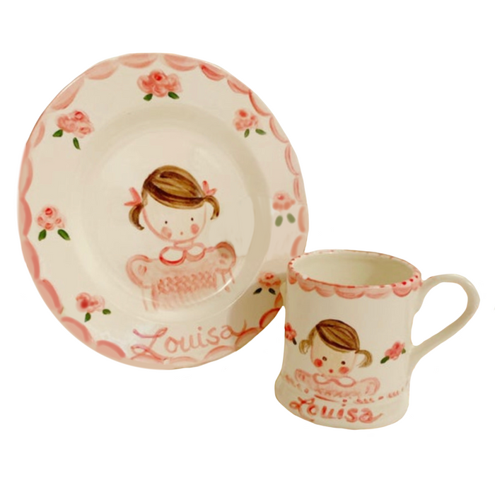 Child's Cup and Plate Set - Girl