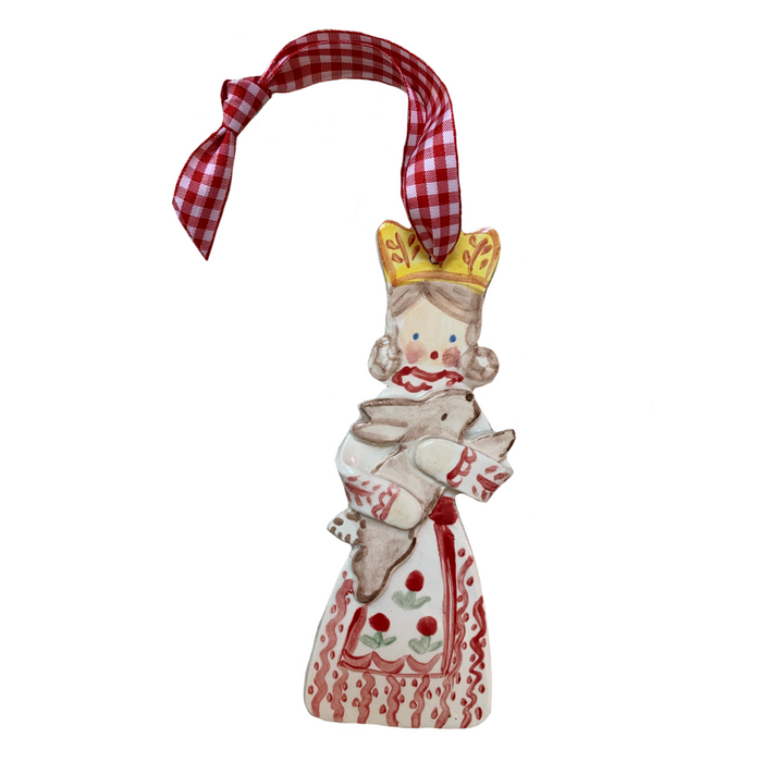Crown Girl with Bunny Ornament