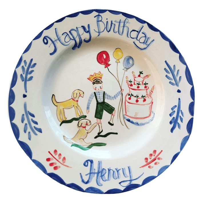 Birthday Plate - Full Color Cake/Yellow Dogs