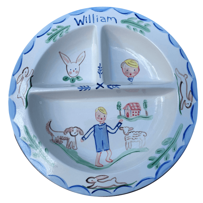 Baby Divided Bowl - Bunnies Dog Sheep