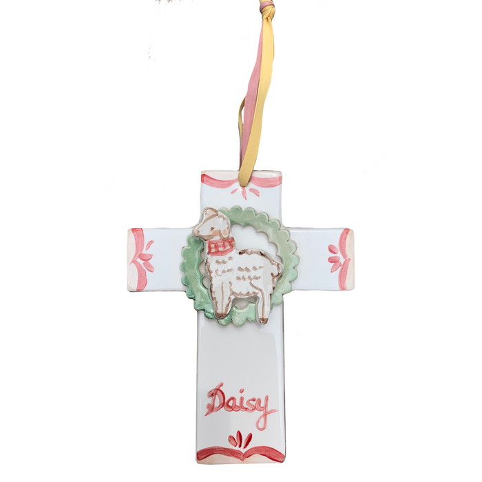 Lamb Cross Ornament - red