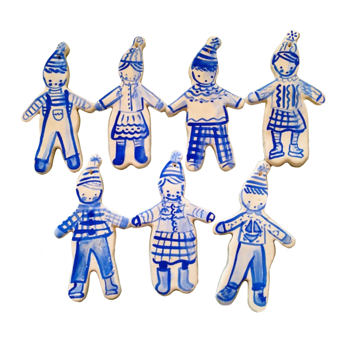 Set of 7 Assorted Skater Ornaments