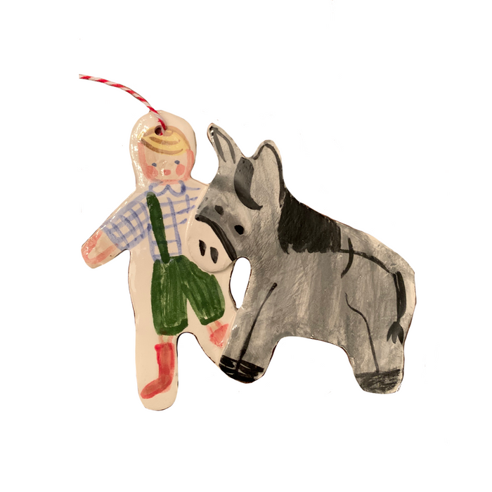 Donkey and Child Ornament