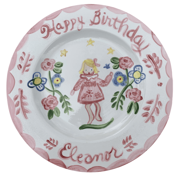 Birthday Plate - Girl with Tall Flowers