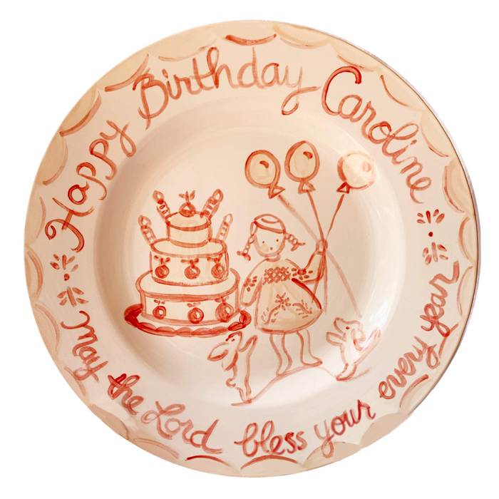Birthday Plate - Pink/Red Party Girl
