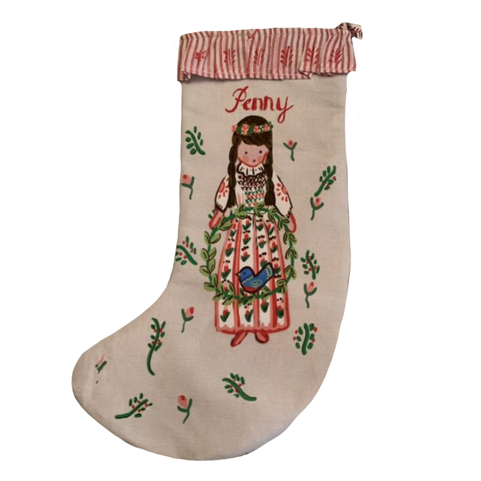 Stocking - Girl with Wreath and Bluebird