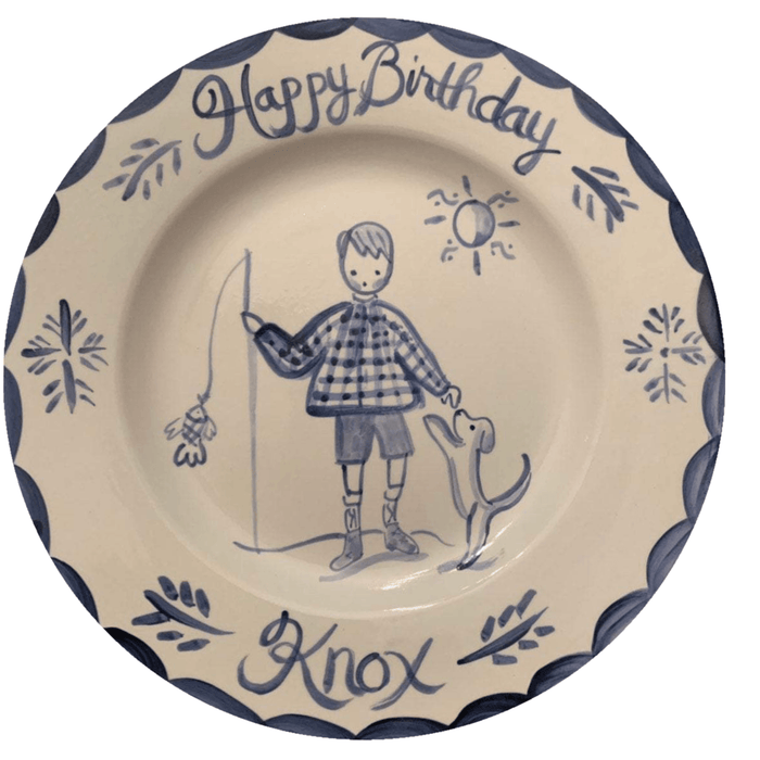Birthday Plate - Blue/White