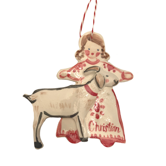 Girl with Goat Ornament