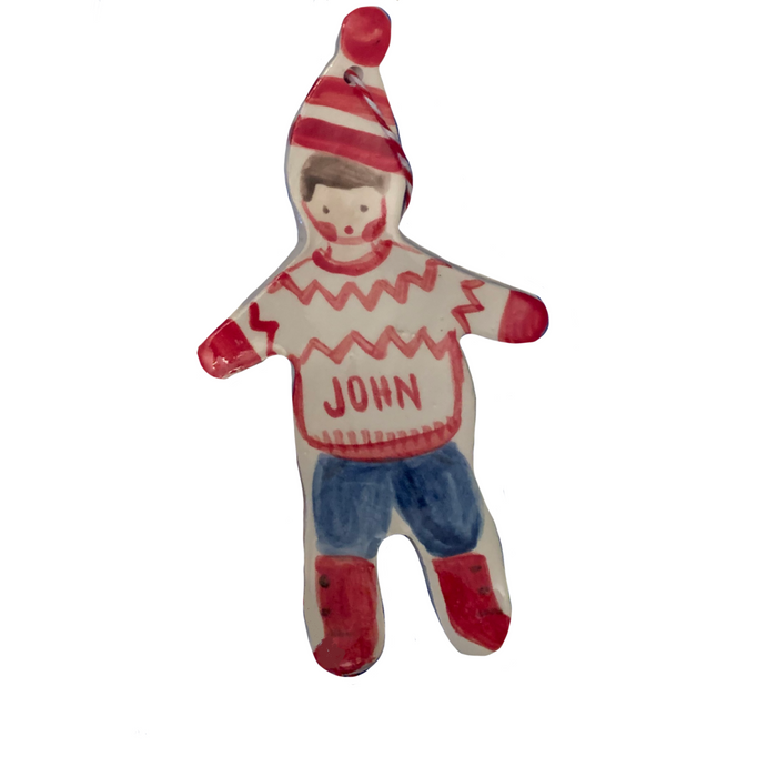 Christmas Boy ornament - red