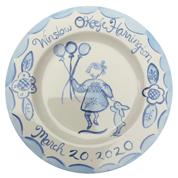 Birthday Plate - Blue/White with Date