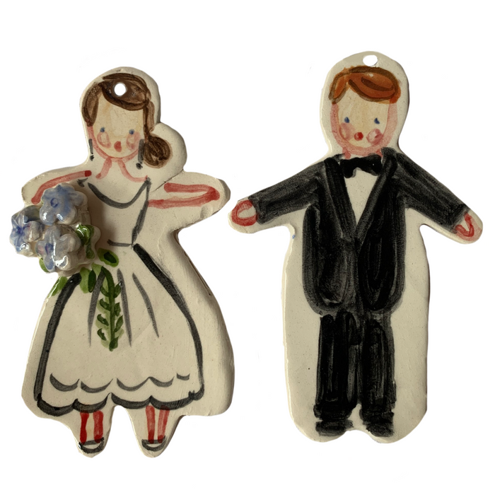 Bride and Groom ornament set