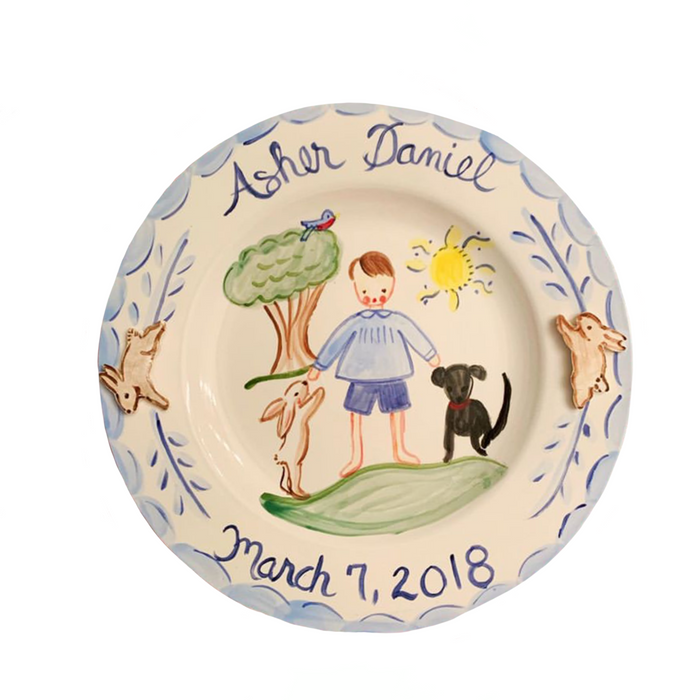 Personalized Plate - Boy with Bunny and Dog