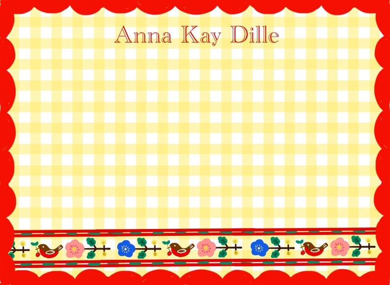 Personalized Notecards with Envelopes -Yellow Gingham Red Border