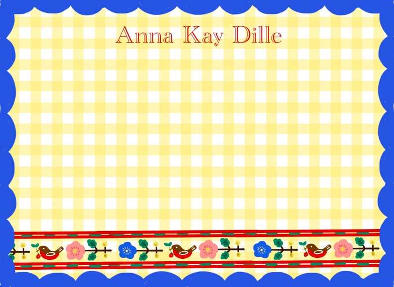 Personalized Notecards with Envelopes -Yellow Gingham Blue Border
